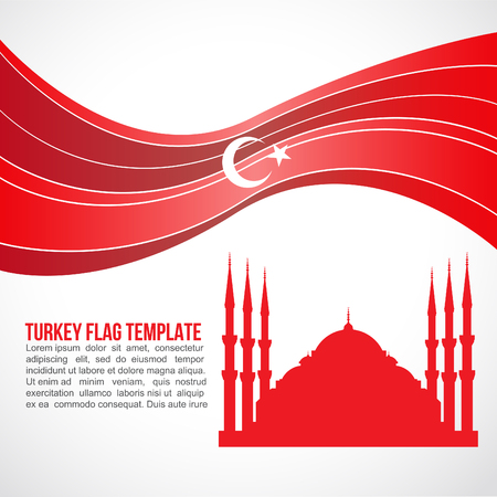turkish flag: Turkey flag wave and Sultan Ahmed Mosque