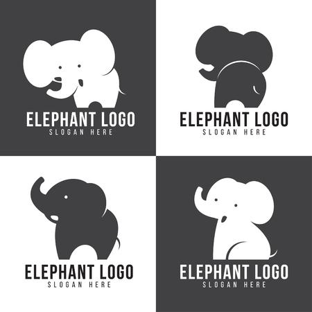 코끼리 로고 - 귀여운 코끼리 4 스타일과 회색과 흰색 톤 일러스트