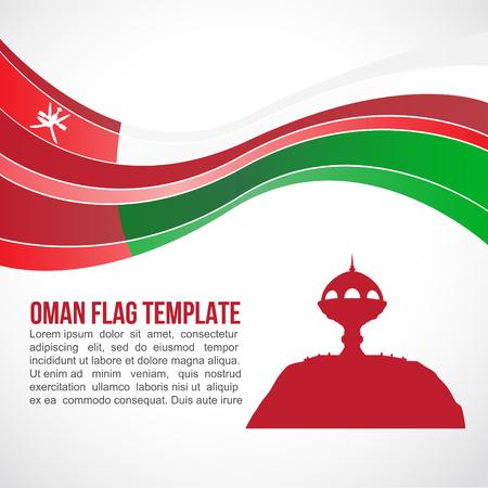 white wave: Oman Flag wave and White incense burner Muscat Illustration