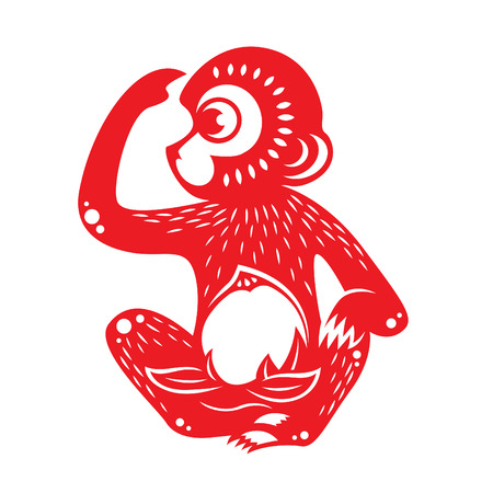 happy new year cartoon: Red paper cut monkey zodiac symbol monkey holding peach