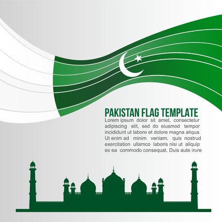 pakistan flag: Pakistan flag wave and Badshahi Mosque or Emperors Mosque