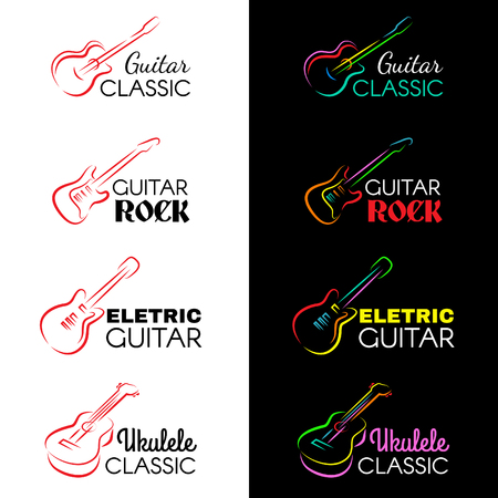 Guitar and ukulele line draw logo vector set design Illustration