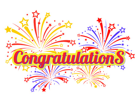 Congratulations text and star fireworks abstract vector