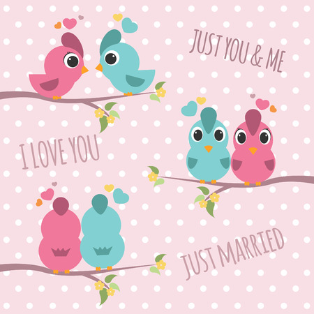 Couple bird branches - pink and blue bird sweet love 3 style