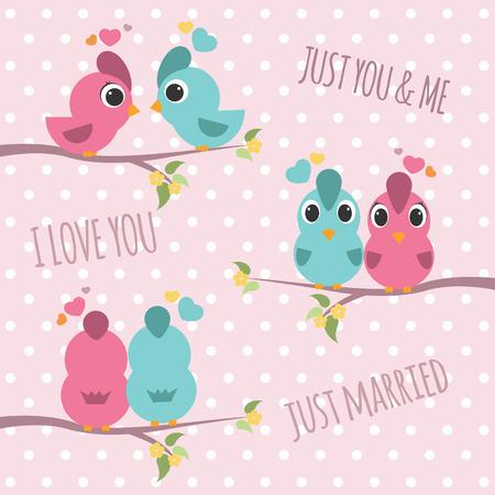 flor caricatura: Ramas Pareja de aves - rosa y azul pájaro dulce amor 3 Estilo Vectores