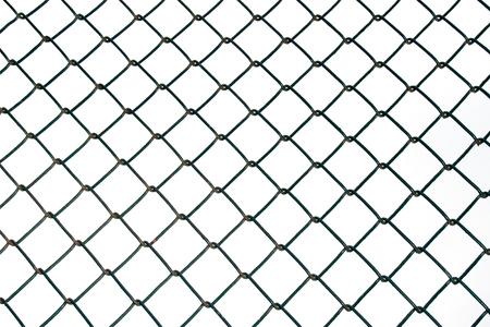 seguridad industrial: Malla de alambre de acero aislado en el fondo blanco Foto de archivo