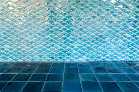 green texture: Blue circle wave tile wall and blue floor tile Stock Photo