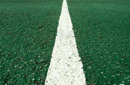 football pitch: White  line at center of football pitch