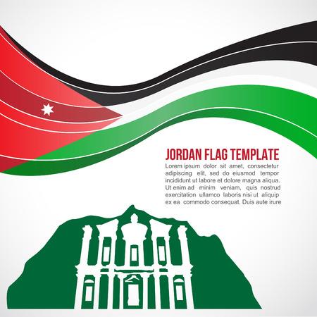 petra: Jordan flag wave and The Monastery, Petra