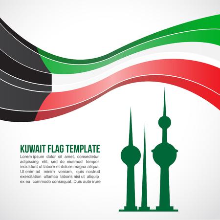 Kuwait flag wave and The Kuwait Towers