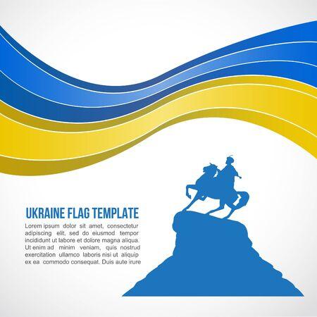 Ukraine flag wave and Bogdan Khmelnitsky monument, Kiev