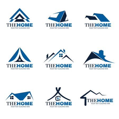 house roof: Blue and gray Home logo set vector design