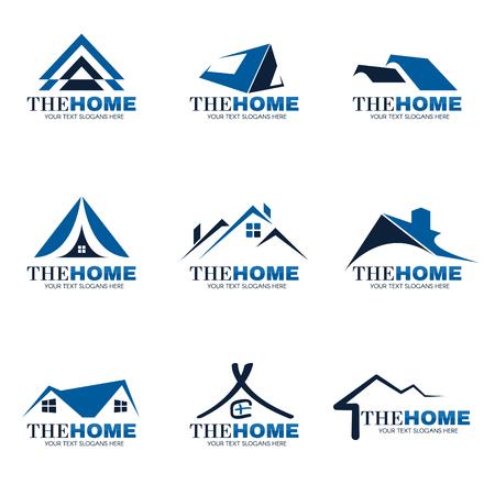 Niebieski i szary Home logo ustawić wektor wzór