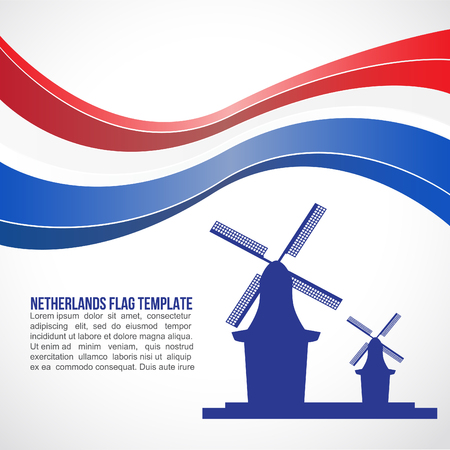 red and white: Netherlands flag wave and Netherlands Wind MILL