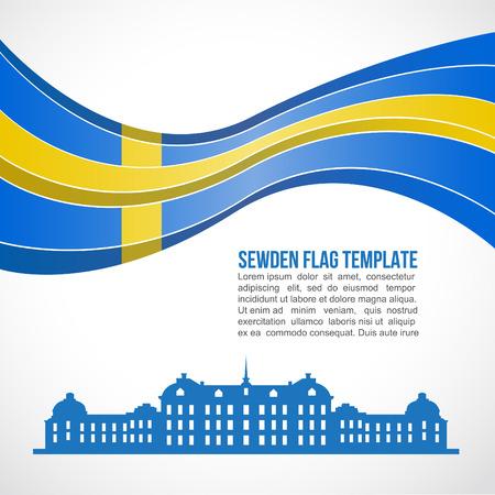sweden flag: Sweden flag wave and drottningholm palace