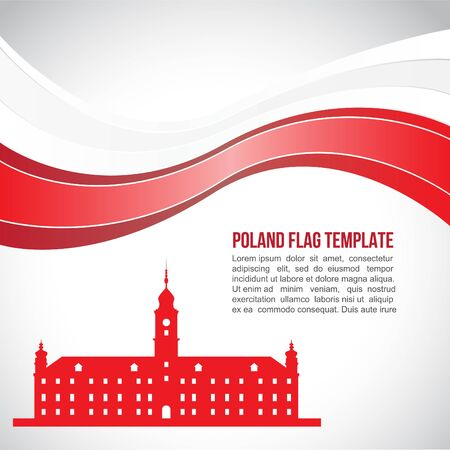 warsaw: Poland flag wave and The Royal Castle in Warsaw Illustration