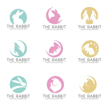 silhouette lapin: Le lapin sur la lune logo vecteur scénographie