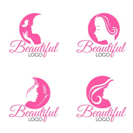 핑크 아름다운 얼굴 아가씨 여자 로고 벡터 세트 디자인 일러스트