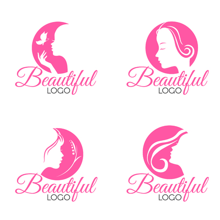 butterfly women: Pink Beautiful Face lady woman logo vector set design