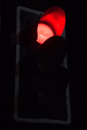 trafic stop: Close up Red Traffic lights at night