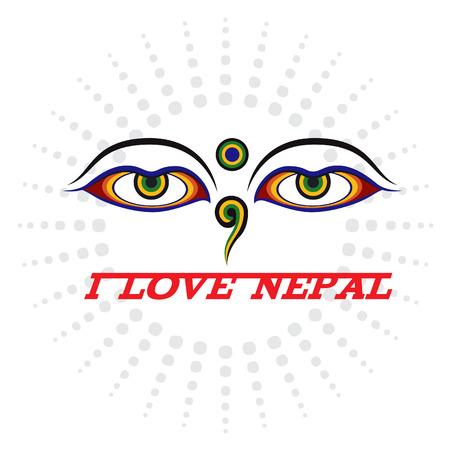 sensation: Eye of Wisdom sign and I LOVE NEPAL
