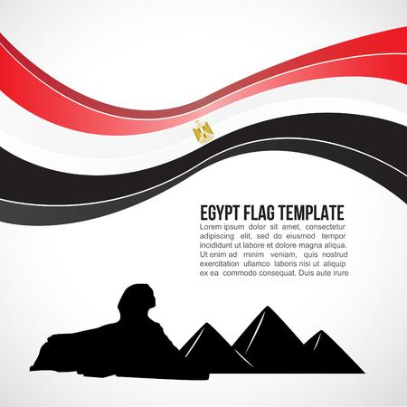 エジプトの旗の波とギザのピラミッドとスフィンクス