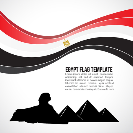 Egypt flag wave and Giza Pyramid and the Great Sphinx