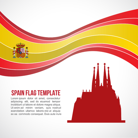 barcelona spain: Spain flag wave and Sagrada Familia