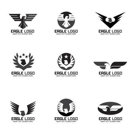 wings logos: Black gray Eagle vector logo set design Illustration