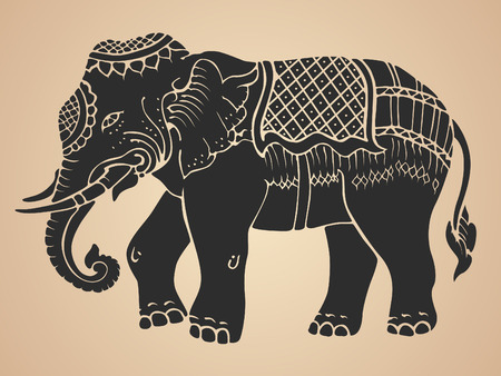 thai style: Black war elephant - Thai traditional art Design Vector
