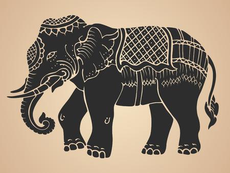 Schwarzer Kriegselefant - Traditionelle Thai-Kunst-Design Vektor Illustration