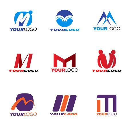 emblem red: Letter M logo vector set design