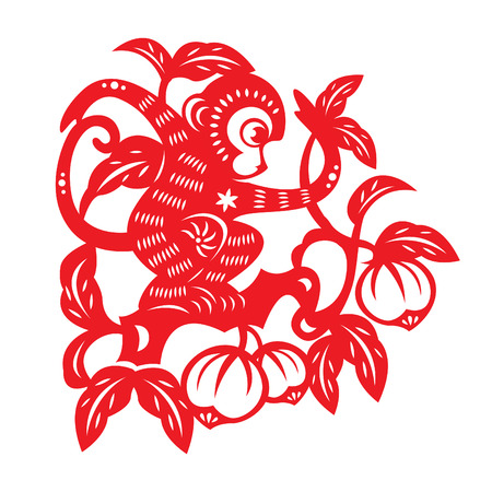 animal cartoon: Red paper cut monkey zodiac symbol monkey on peach tree