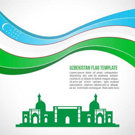 Uzbekistan flag wave and Kaffal-Shashi mausoleum, Tashkent