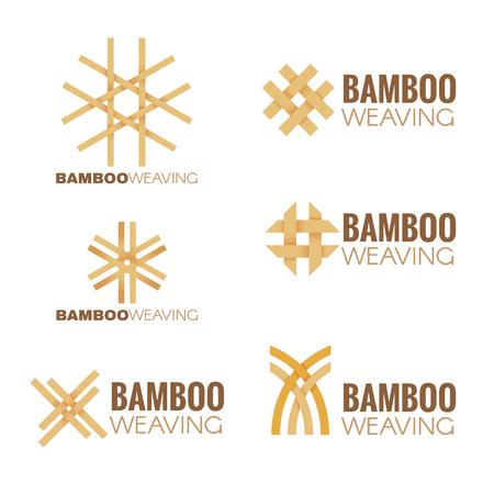 bambu: El logotipo de tejer conjunto de vectores Diseño de bambú Vectores