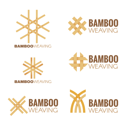 The Bamboo weaving logo vector set design