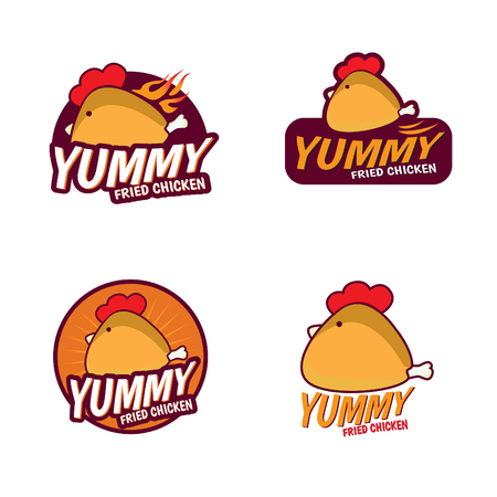 cartoon chicken: Yummy Fried chicken logo vector set design Illustration