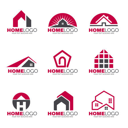 Rode en grijze Huis logo set vector design