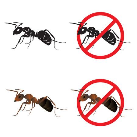 hormiga: s�mbolos signo de la hormiga y Stop dise�o del vector