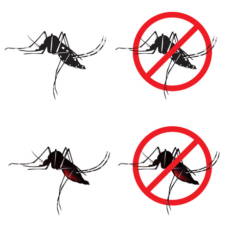 insect mosquito: Mosquito and Stop mosquito sign symbols vector design