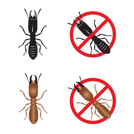 Termite and Stop termite sign symbols vector design
