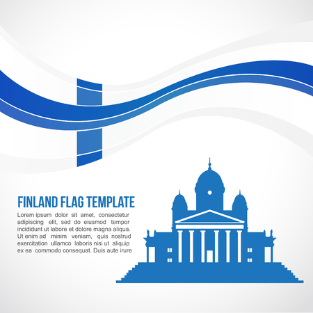 finland: Finland flag wave and The Helsinki Cathedral Illustration