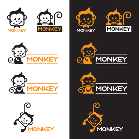 Orange and Black Monkey logo vector set design