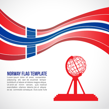 Norway flag wave and The Globe At Nordkapp North Cape
