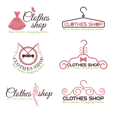 nude fashion model: Clothes shop fashion logo vector set design