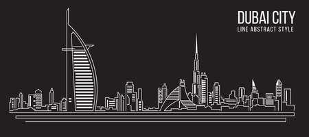 Stadtansicht von Gebäuden Line art Vector Illustration Design Dubai-Stadt