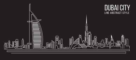 Cityscape Building Line art Vector Illustration design Dubai city