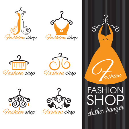 woman closet: Fashion shop logo - Orange Clothes hanger and dress and butterfly