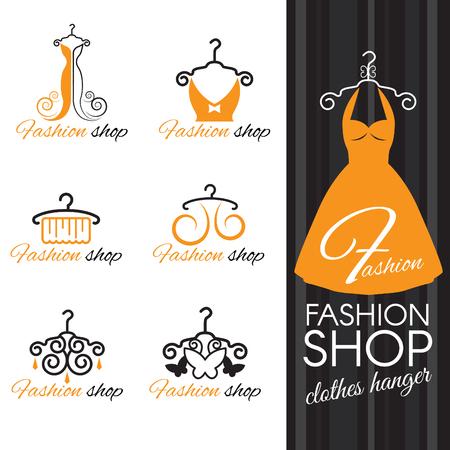 negozio di moda logo - vestiti arancioni appendiabiti e abito e farfalla