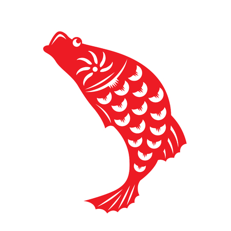 auspicious sign: Red paper cut out of a fish china zodiac symbols Illustration